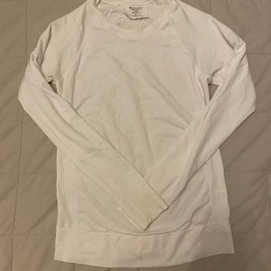 Athletes white compression top